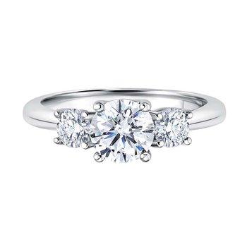14K White Gold 1-1/2ctw Three Stone Diamond Ring