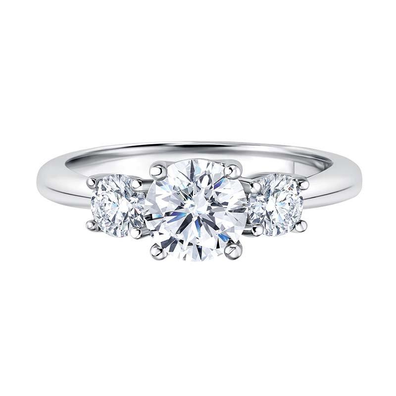 Greenberg's 14k white gold 1-1/2ctw three-stone diamond ring