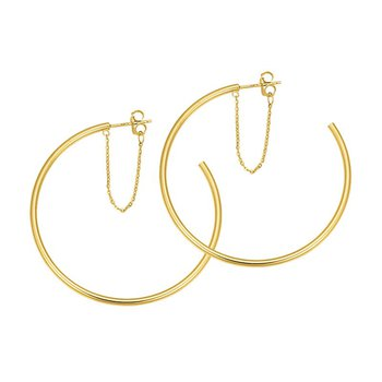14k yellow gold open hoop and chain earrings
