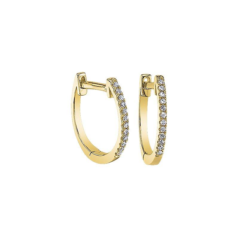 Shy Creation 0.08CT 14K Y/G Diamond Huggie Earring