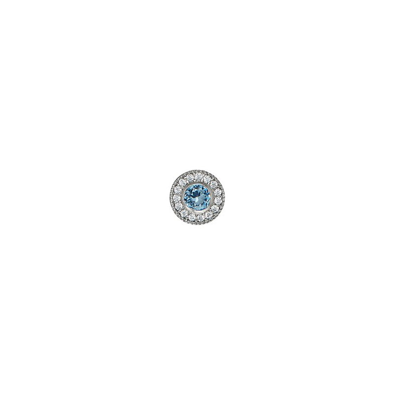 Kelly Waters platinum finish sterling silver simulated blue topaz charm