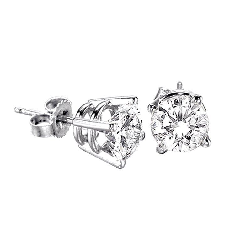 Greenberg's 10k white gold .12ct round stud diamond earrings