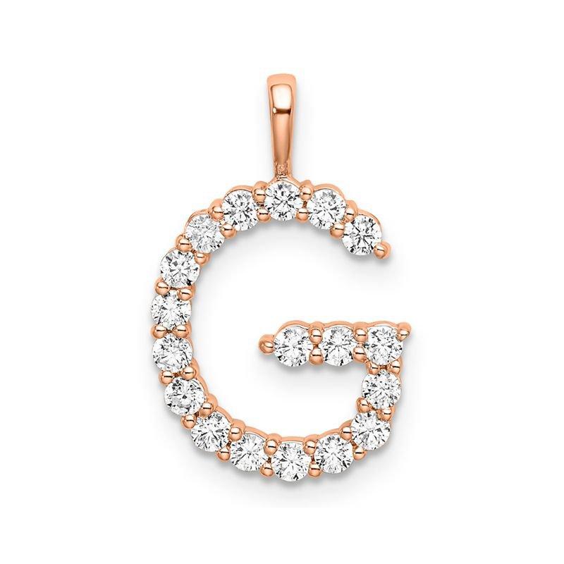 "Greenberg's 14k rose gold initial ""G"" pendant"