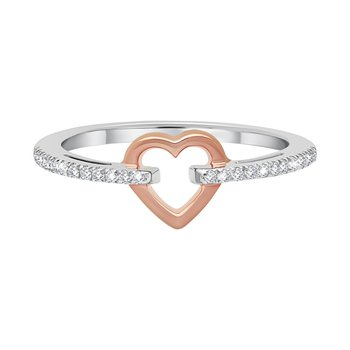 10k white and pink gold .12ctw heart ring