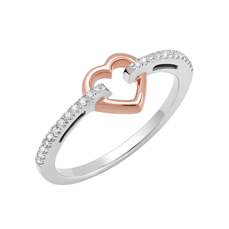 Greenberg's 10k white and pink gold .12ctw heart ring
