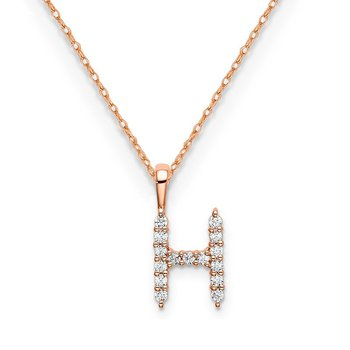 "14k rose gold initial ""H"" pendant with chain"