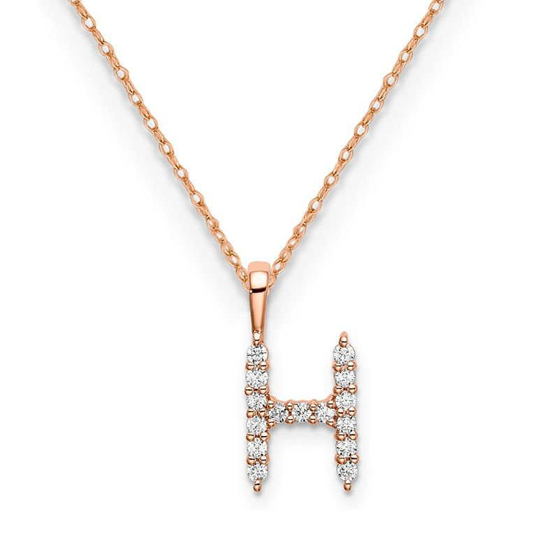 """Greenberg's 14k rose gold initial """"H"""" pendant with chain"""