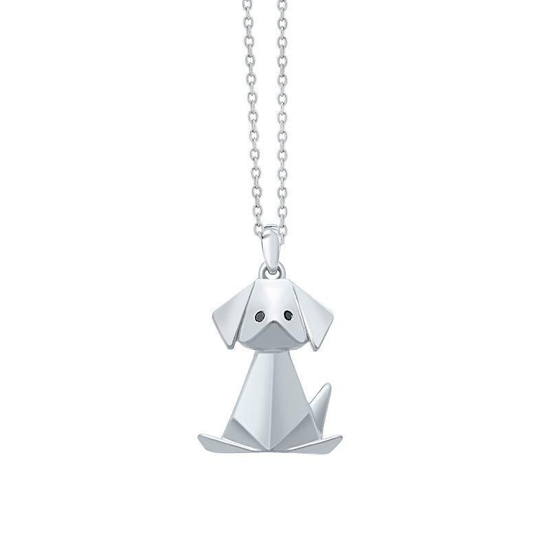 Greenberg's sterling silver origami doggie pendant