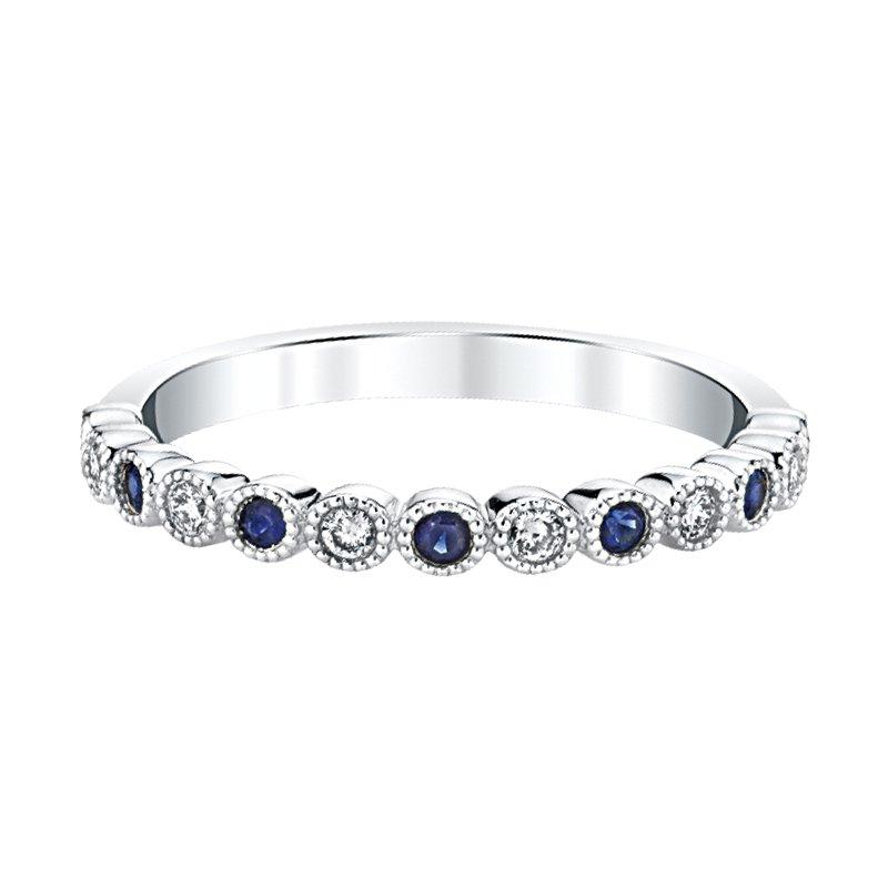"Greenberg's 14k white gold ""september"" sapphire and diamond birthstone ring"