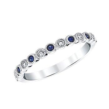 "14k white gold ""september"" sapphire and diamond birthstone ring"