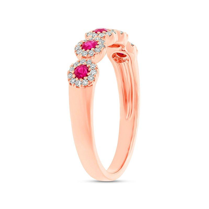 Shy Creation 14k R/G Five-Diamond Ruby Fashion Ring