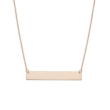 14k rose gold flat bar necklace