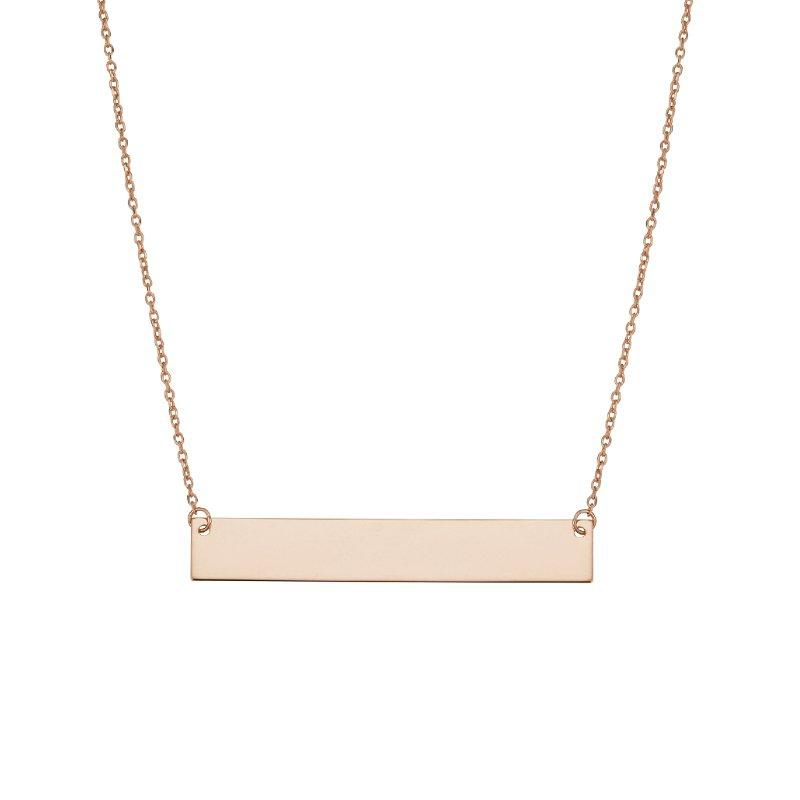 Greenberg's 14k rose gold flat bar necklace