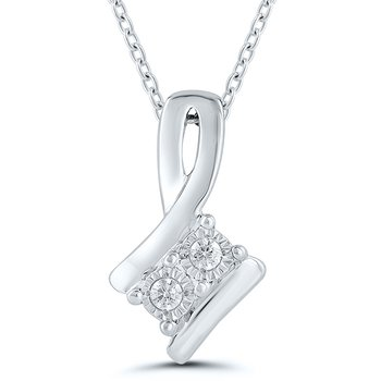sterling silver two-stone reflection pendant