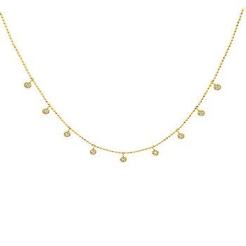 14k yellow gold 1/4ctw adjustable necklace