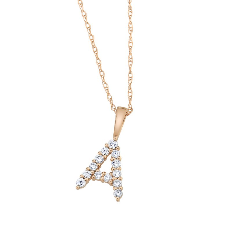 """Greenberg's 14k rose gold """"A"""" initial pendant with chain"""