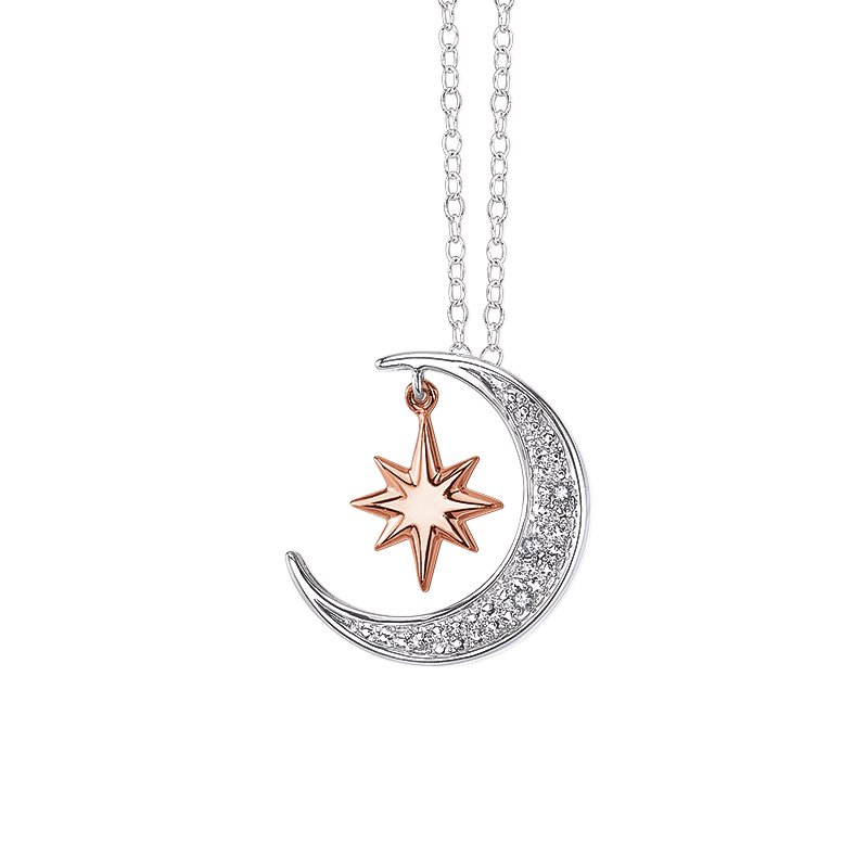 Greenberg's sterling silver .009ctw moon and star pendant