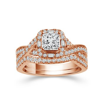 14k pink gold princess cut bridal set