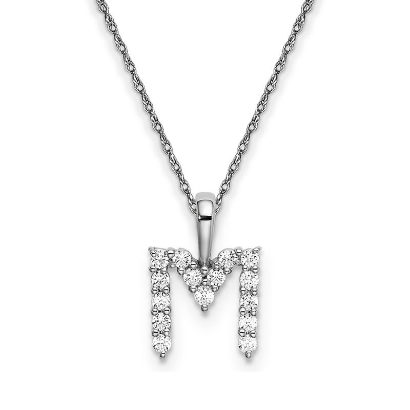 """Greenberg's 14k white gold initial """"M"""" pendant with chain"""