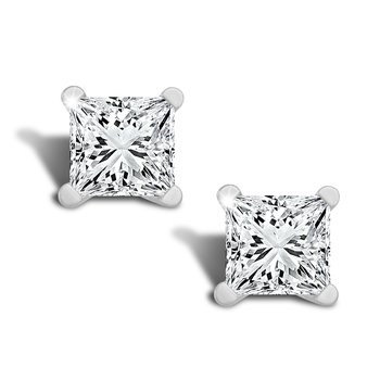 3/4ct princess cut stud diamond earrings