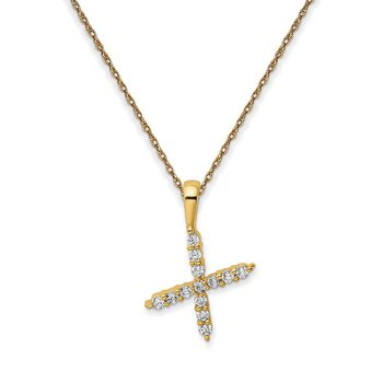 """14k yellow gold initial """"x"""" pendant with chain"""