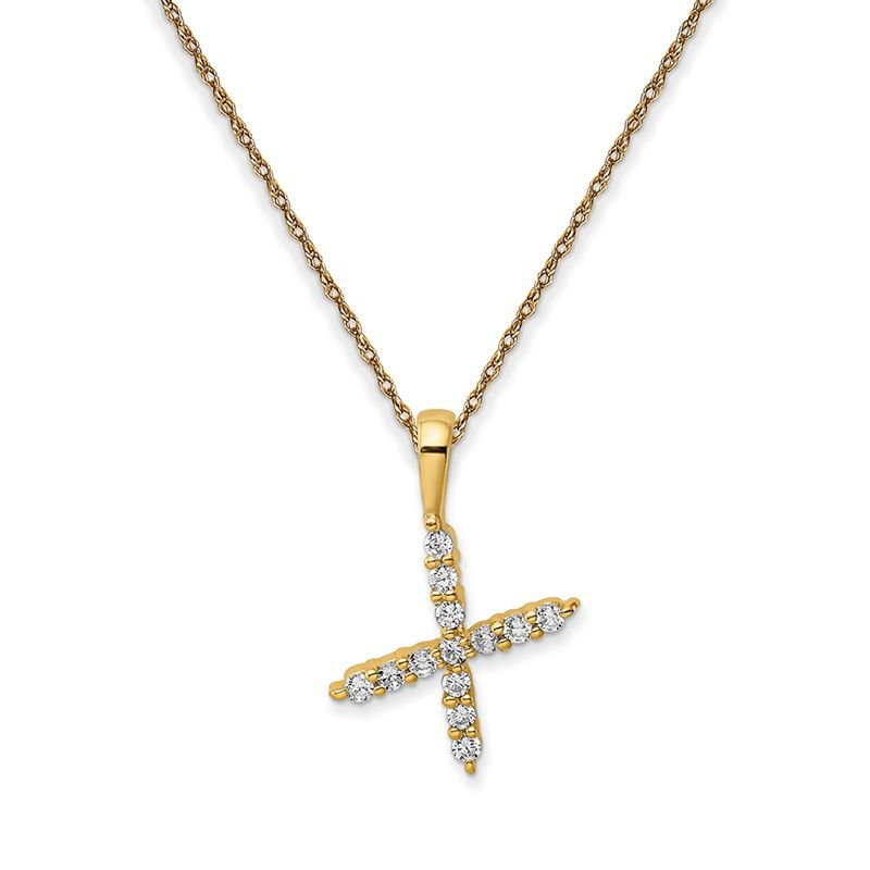 """Greenberg's 14k yellow gold initial """"x"""" pendant with chain"""