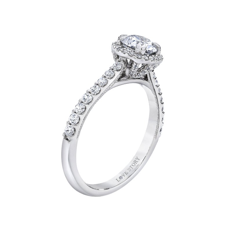 Love Story 14k white gold 3/8ctw semi mount diamond engagement ring