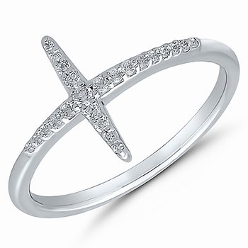 10k white gold cross ring