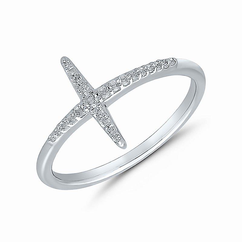 Greenberg's 10k white gold cross ring