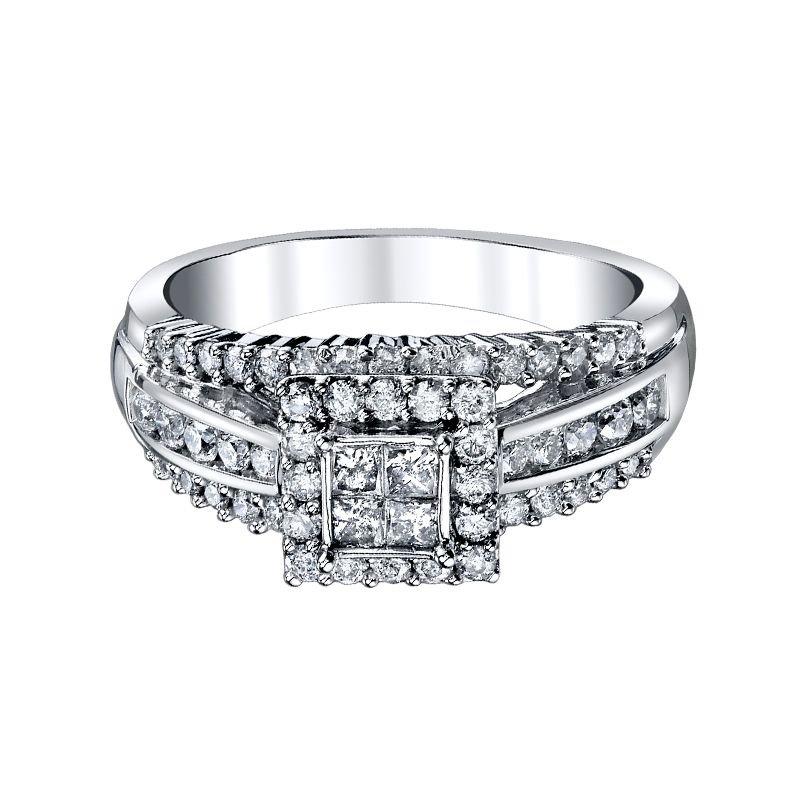 Beautiful Bride 10K WG 1.00CTW Princess Cut Quad Diamond Engagement Ring