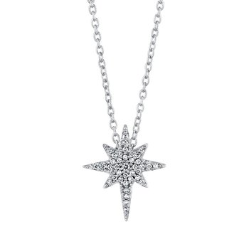 10k white gold 1/8ctw love star pendant