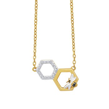 10k yellow gold hexagon with honeybee pendant