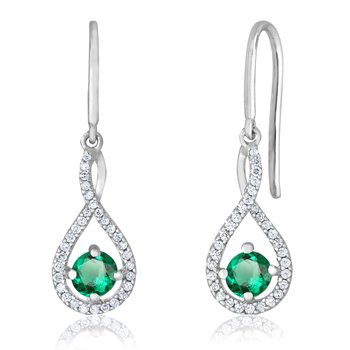 sterling silver and diamond emerald drop earrings