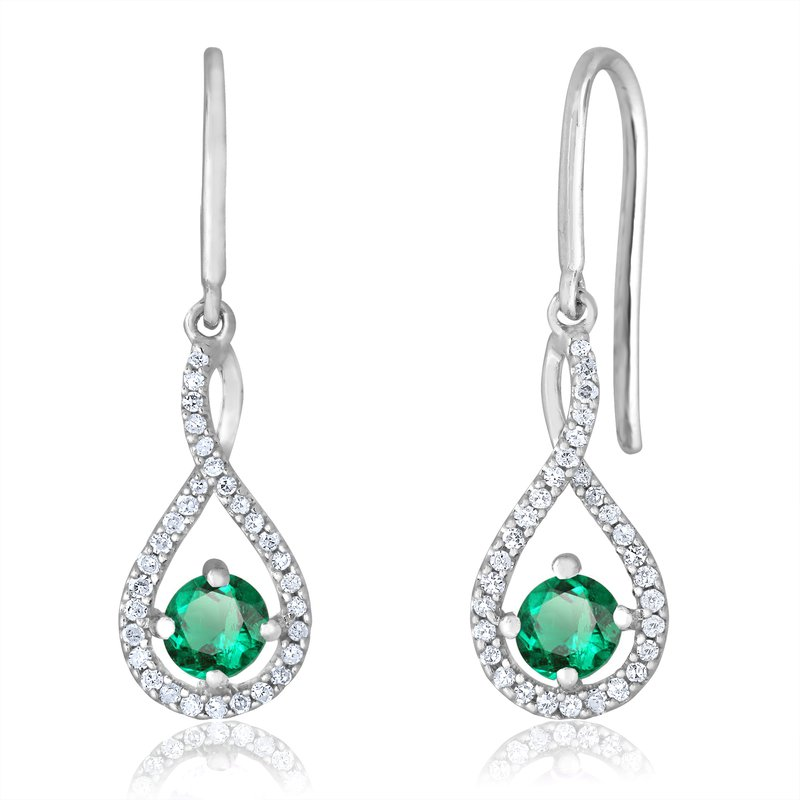 Greenberg's sterling silver and diamond emerald drop earrings