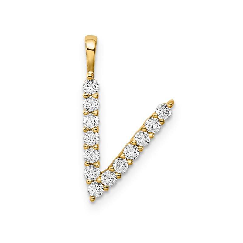 "Greenberg's 14k yellow gold initial ""V"" pendant"