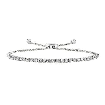 14k white gold diamond bolo bracelet
