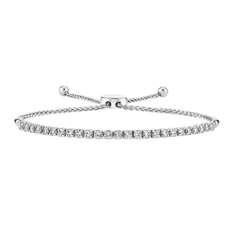 Greenberg's 14k white gold 1.00ctw diamond bolo bracelet
