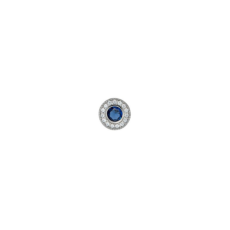 Kelly Waters platinum finish sterling silver simulated sapphire charm