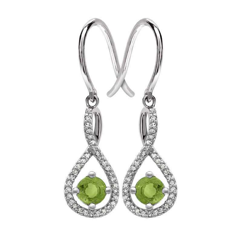Greenberg's sterling silver and diamond peridot drop earrings