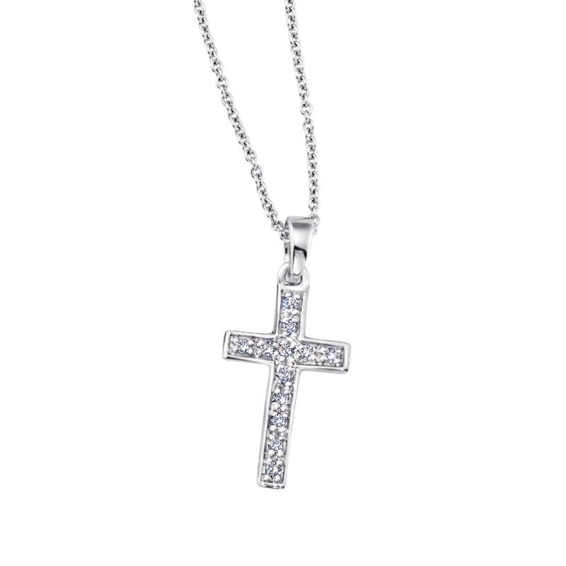 Greenberg's sterling silver diamond cross fashion pendant