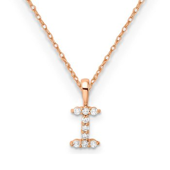 """14k rose gold initial """"I"""" pendant with chain"""