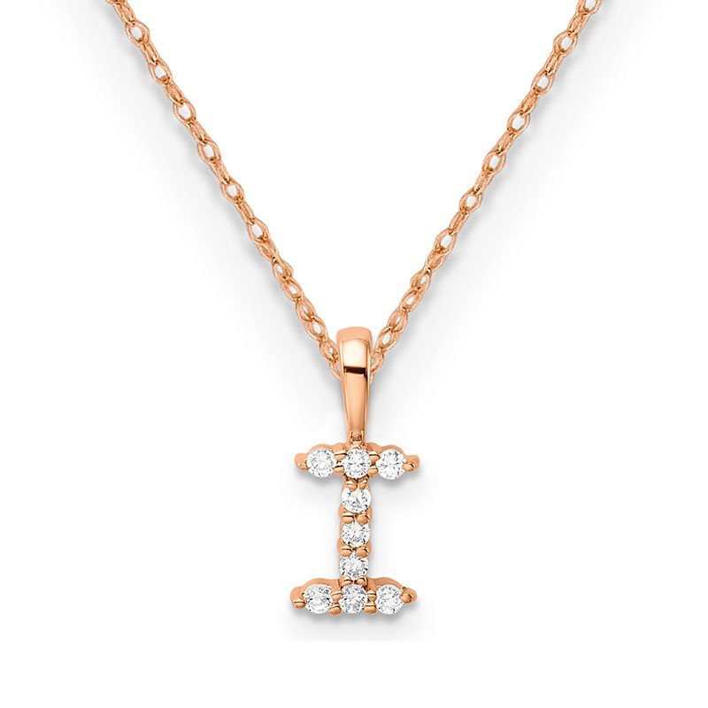 """Greenberg's 14k rose gold initial """"I"""" pendant with chain"""