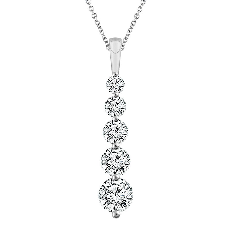 Greenberg's 14k white gold 5-stone diamond pendant