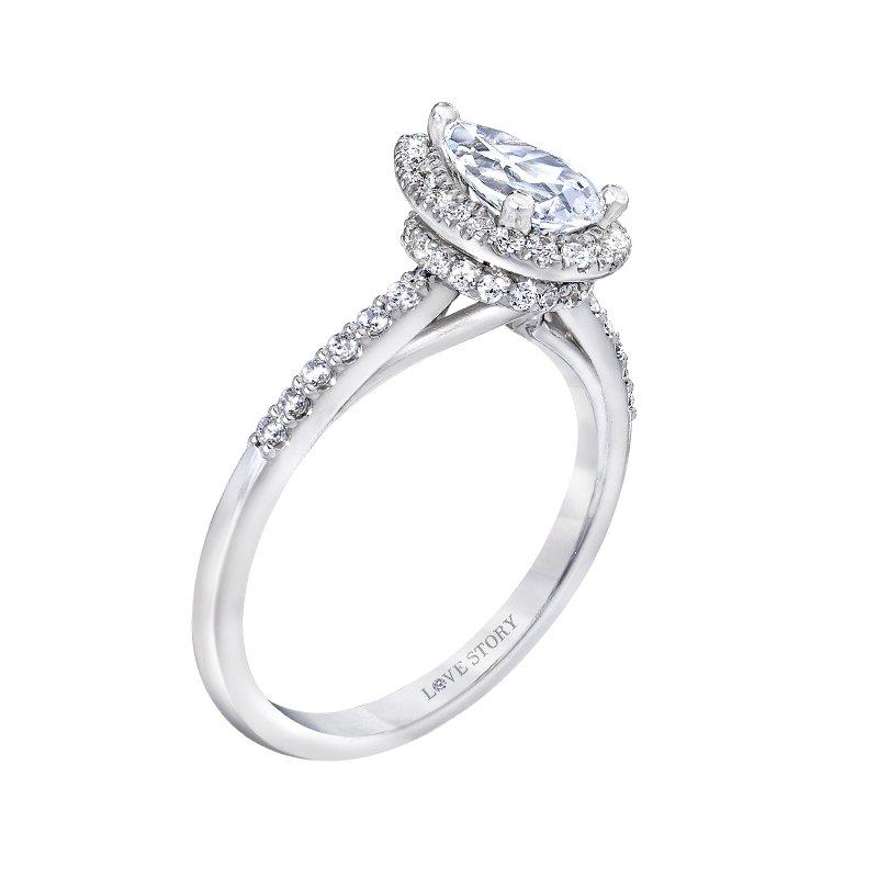 Love Story 14k white gold .34ctw semi-mount diamond engagement ring