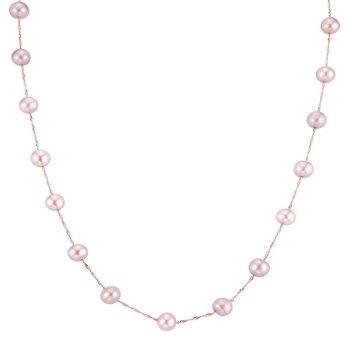 14k rose gold necklace with pink freshwater pearls