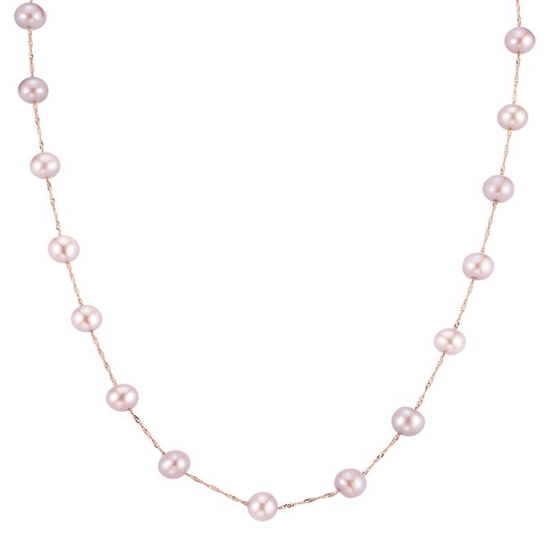 Greenberg's 14k rose gold necklace with pink freshwater pearls