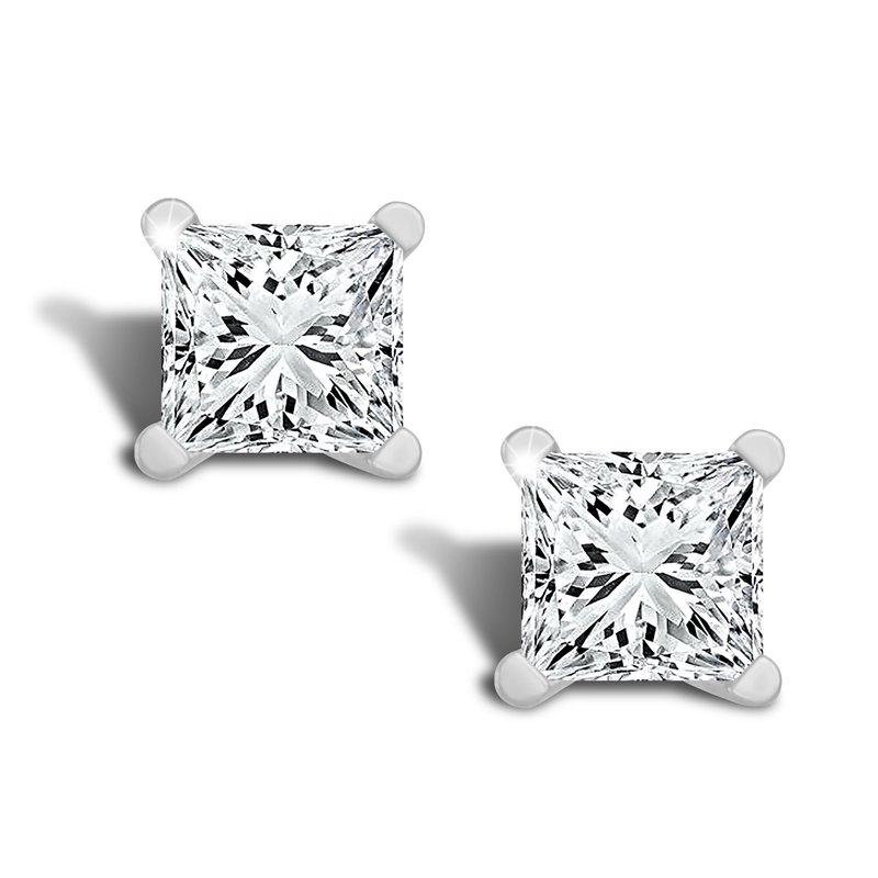 Greenberg's 14k white gold 1/2 ct princess cut stud diamond earrings