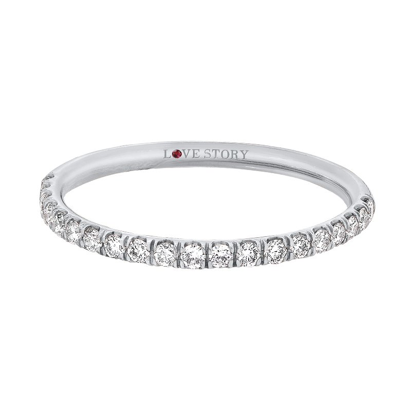 Love Story 14k white gold 1/4ctw comfort fit diamond wedding band