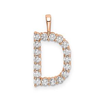 """14k rose gold initial """"D"""" pendant"""