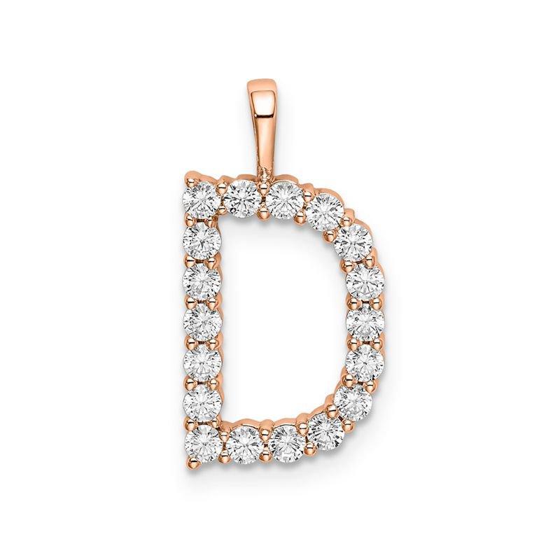 "Greenberg's 14k rose gold initial ""D"" pendant"